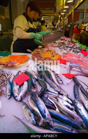 Fish stall at the market hall in Girona Catalonia Spain EU - Stock Photo