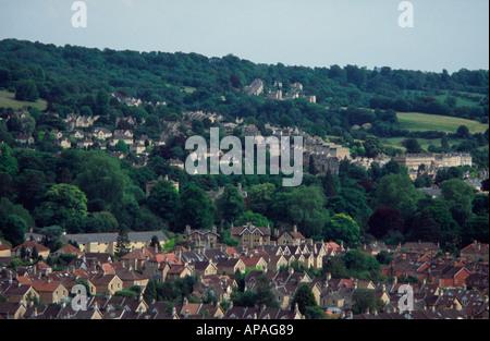 View of Bathwick from Walcot Terrace, Bath, Somerset, England UK - Stock Photo