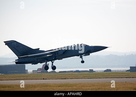 RAF Tornado F3 on take off run full afterburner - Stock Photo
