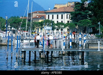 Street scene in Lovere on Lago d Iseo Italy - Stock Photo