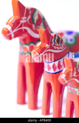 Dala horses a famous Swedish souvenir from the county of Dalarna - Stock Photo