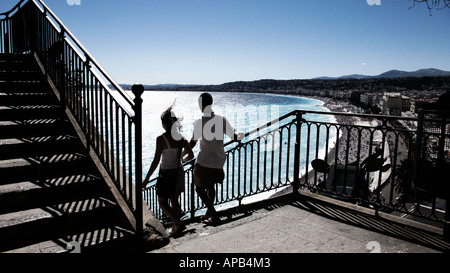 View of the Bay in Nice, France, from the steps of The Chateau - Stock Photo