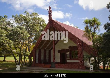 Maori Whare runanga marai Waitangi meeting house in Treaty Grounds National Reserve New Zealand - Stock Photo
