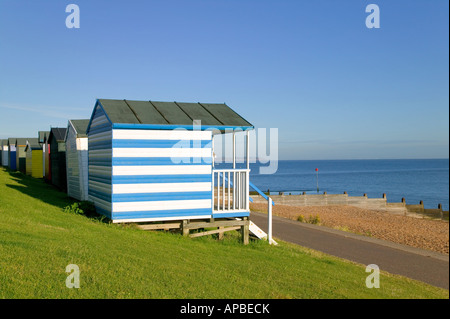 Beach huts at Tankerton beach near Whitstable Kent England - Stock Photo