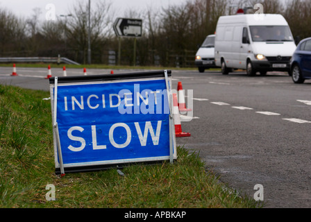 Road Traffic Incident Sign positioned on the slip road to the M40 at Junction 5, Stokenchurch, England, UK. - Stock Photo