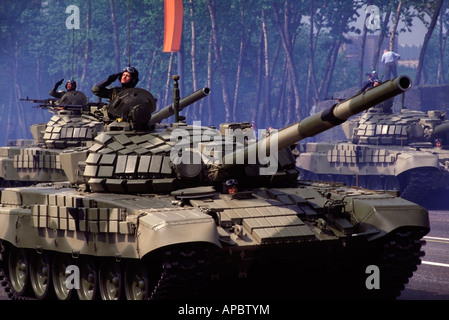 Russian T 72 battle tanks on parade during the annual celebration of the end of WWII in Moscow, Russia. - Stock Photo