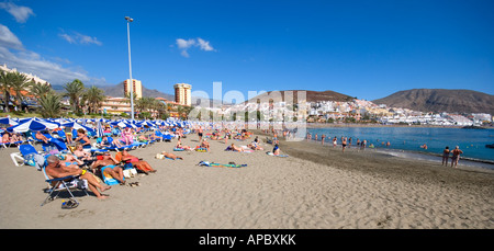 Playa de Las Vistas beach in Los Cristianos Tenerife Spain is considered one of the best beaches on the Canary Islands - Stock Photo