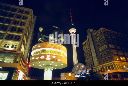 World Time Clock and TV Tower, Alexanderplatz, Berlin, Germany - Stock Photo