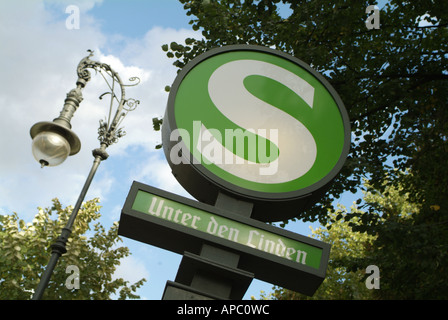 S-Bahn sign 'Unter den Linden', Berlin, Germany. - Stock Photo