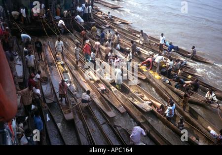 Dugout canoe Congo River D R Congo Zaire Central Africa - Stock Photo