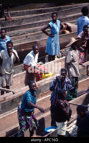 Dugout canoes Congo Zaire River D R Congo Zaire Central Africa - Stock Photo