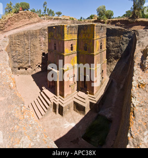 A 4 picture stitch panoramic of the Bete Giyorgis or Church of St. George monolithic church in Lalibela. - Stock Photo