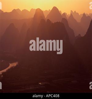 Li River Guilin Guang xi China - Stock Photo