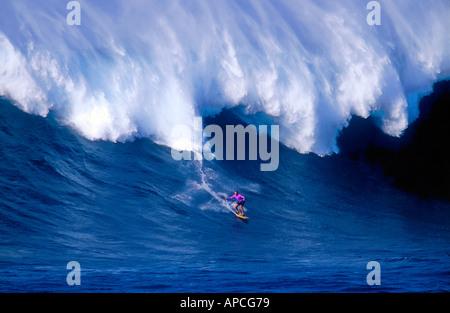 Surf legend Laird Hamilton on Jaws in Maui Hawaii - Stock Photo