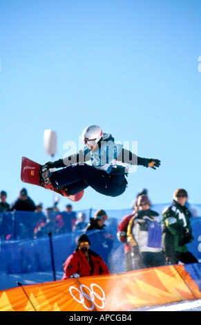 Lesley McKenna GB competing in the half pipe at the 2002 Winter Olympics Salt Lake City Utah USA - Stock Photo