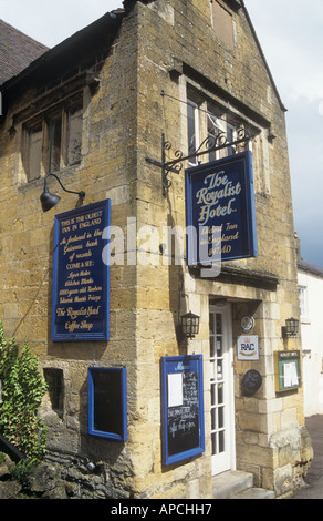 The Royalist Hotel (Oldest Inn in England), Stow-on-the-Wold, the Cotswolds, Gloucestershire, England, UK - Stock Photo