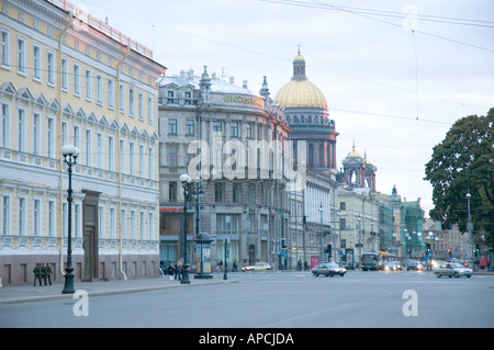 A view from Palace Square in Saint Petersburg with the dome of Saint Isaacs in the distance - Stock Photo