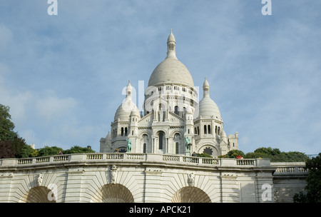 Looking up at Sacre Coeur in Paris France - Stock Photo