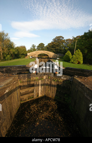 a lock on the lancsater canal - Stock Photo
