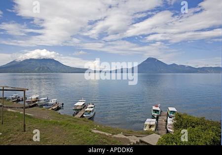 GUATEMALA LAKE ATITLAN View across Lake Atitlan from the Panajachel boat dock - Stock Photo