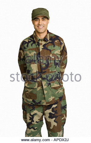 Male soldier wearing camouflage - Stock Photo