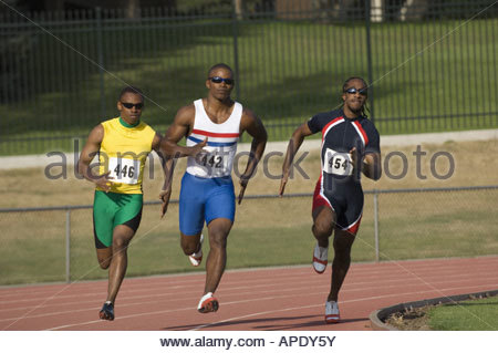 African male athletes running race - Stock Photo