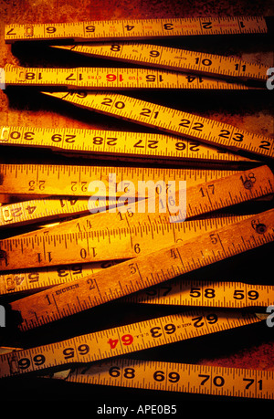 Old wooden rulers - Stock Photo