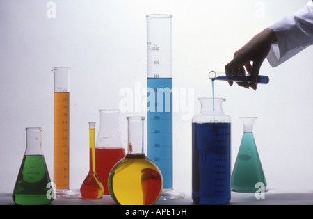 Chemicals, measuring, flasks, beakers - Stock Photo