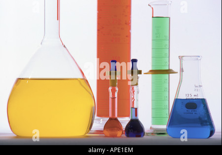 Chemistry flasks and beakers - Stock Photo