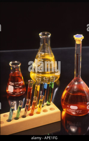 Chemistry flasks and tubes - Stock Photo