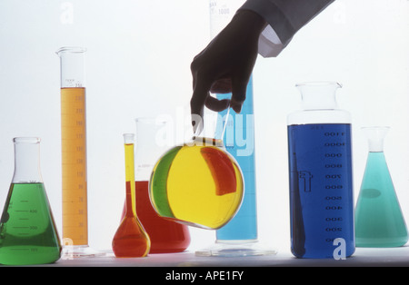 Chemistry flasks, beakers - Stock Photo