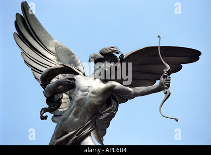 The statue of Eros in Piccadilly Circus in London England UK - Stock Photo