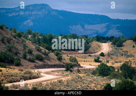 Twisting curves along a rural dirt road through the rolling hills near Ghost Ranch New Mexico - Stock Photo