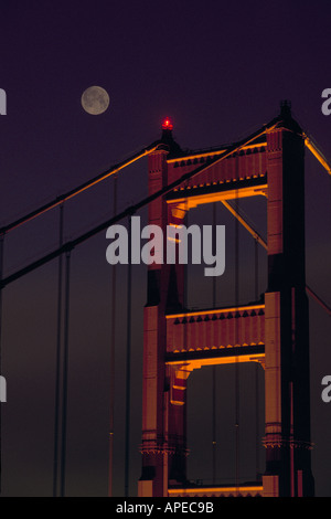 Double exposure full moon at night over the North Tower Golden Gate Bridge San Francisco Bay Area California - Stock Photo