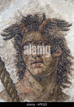 Art works in the museum of Bardo, in Tunis, Tunisia. Here is a a close-up photo of a Roman  mosaic. - Stock Photo