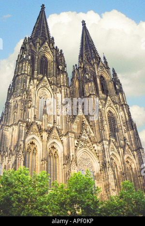 Cologne, Germany, cathedral façade, dramatic lighting. - Stock Photo