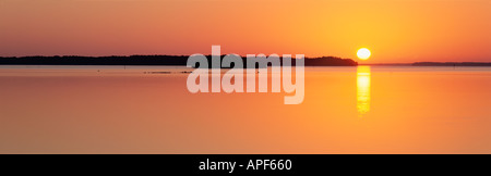 Sunrise over mangrove islands on calm Florida Bay Everglades National Park Florida - Stock Photo