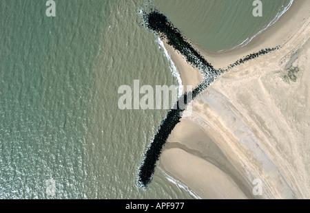 Sea defences against coastal erosion, Suffolk Coast, England - Stock Photo