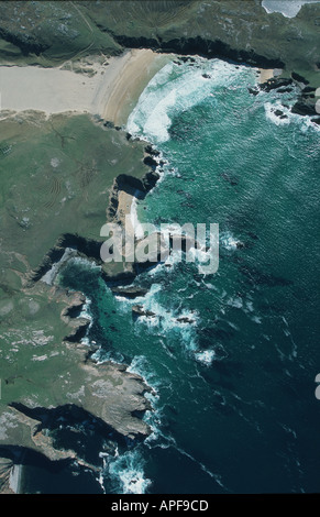Aerial view of beach in Scotland - Stock Photo