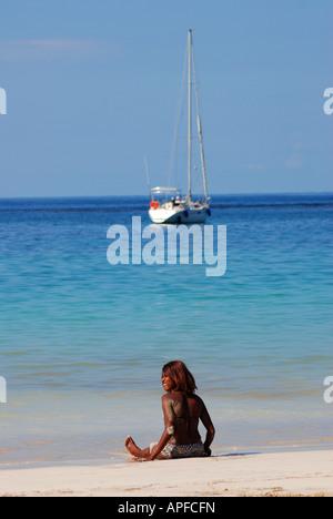 Girl on the beach, Punta Popy, Dominican Republic, Caribbean - Stock Photo