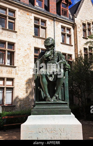 Bronze statue of King Louis XI at Bourges - Stock Photo