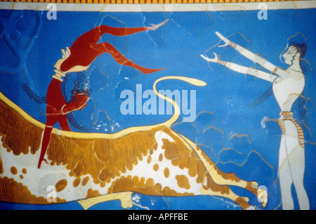 Crete Greece Knossos Fresco Detail From Leaping The Bull - Stock Photo