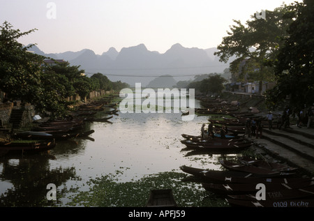 View of the Perfume River, near Hue, Vietnam. - Stock Photo