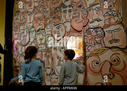 Play the Face Game at the William Steig exhibit at the Jewish Museum in NYC - Stock Photo