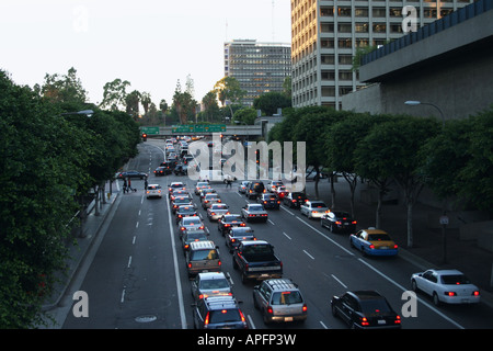 traffic queuing along downtown Los Angeles street California  October 2007 - Stock Photo
