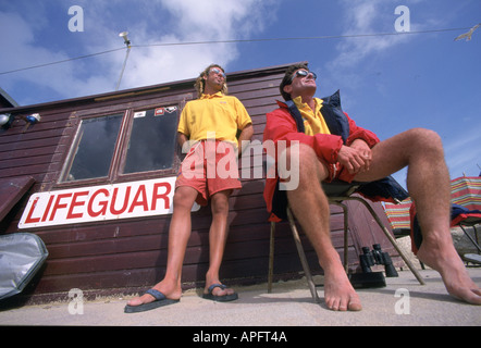 Lifeguards hut in Newquay Cornwall - Stock Photo