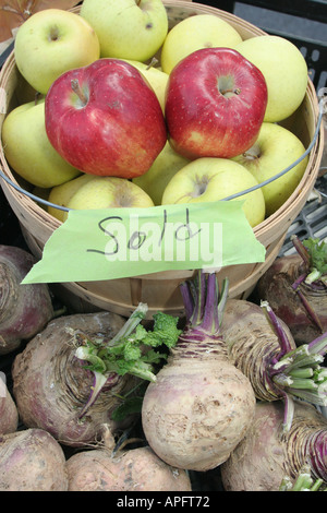 Michigan, MI, Mich, Upper Midwest, Hastings, farmers market, farmer's, farmers', apples, basket, sold, beets, turnips, - Stock Photo