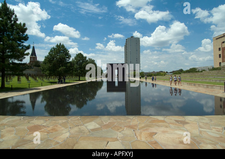 The Reflecting Pool in the Outdoor Symbolic Memorial of the Oklahoma City National Memorial. - Stock Photo
