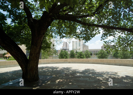 The Survivor Tree at  the  Oklahoma City National Memorial site of the Alfred P Murrah federal building. - Stock Photo