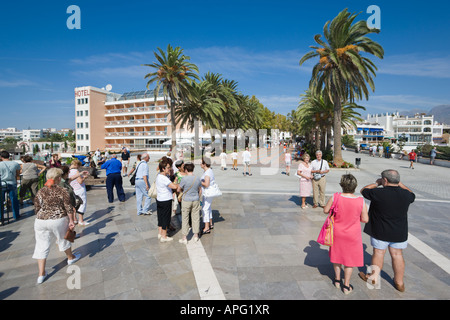 Nerja Malaga Province Costa del Sol Spain Groups of tourists on Balcon de Europa - Stock Photo